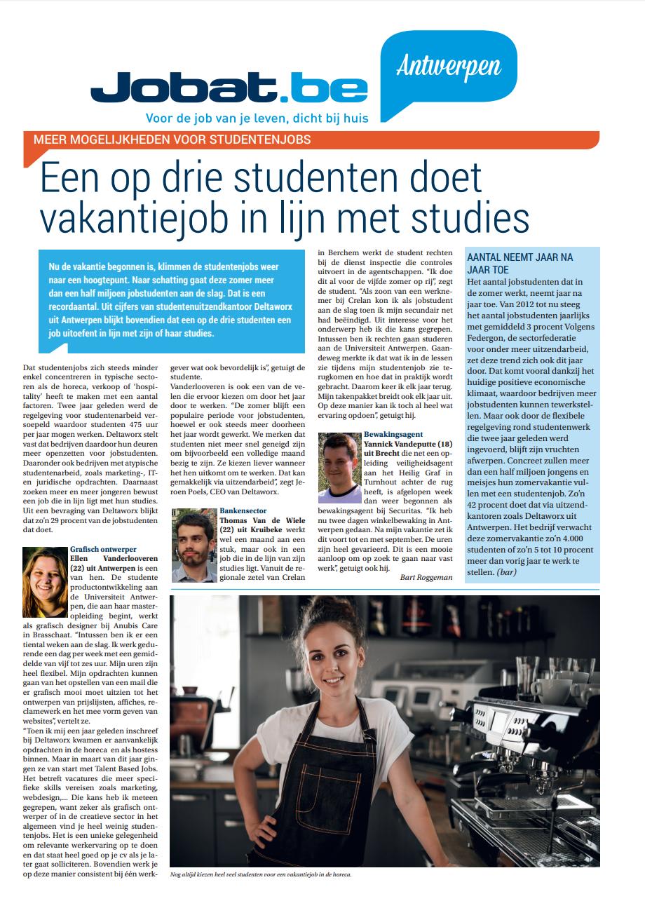 Een op drie studenten doet vakantiejob in lijn met studies. Deltaworx - Talent Based Jobs